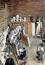 «В скульптурной мастерской»,  холст, масло