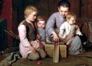 «Дети, катающие пасхальные яйца», 1855 г.