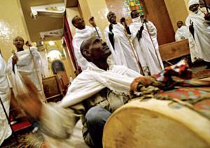на богослужении в  Эфиопии