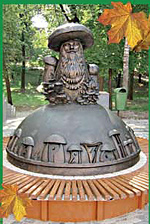 Памятник глазастым грибам в Рязани