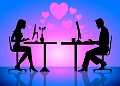 An illustration of a couple online on computer